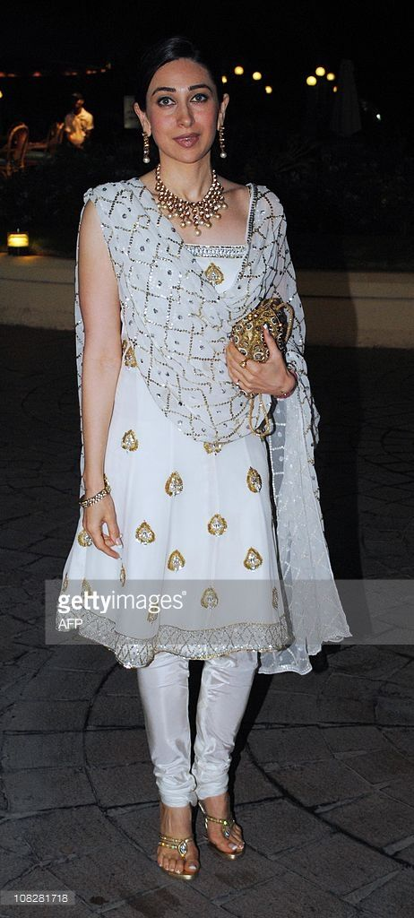 Indian Bollywood actress Karishma Kapoor attends the wedding ceremony for bollywood actors Neelam Kothari and Sameer Soni in Mumbai on January 23, 2011.