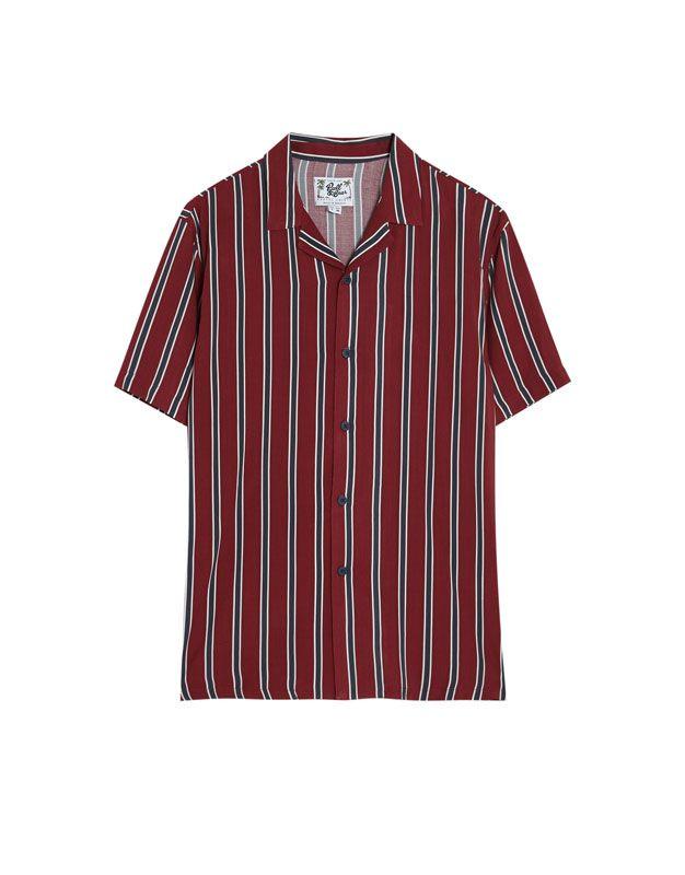 Camisa de manga corta a rayas burdeos PULL&BEAR