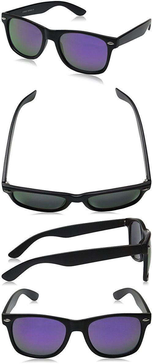 64fa7c532b9 ZeroUV ZV-8025-08 Retro Matte Black Horned Rim Flash Colored Lens Sunglasses