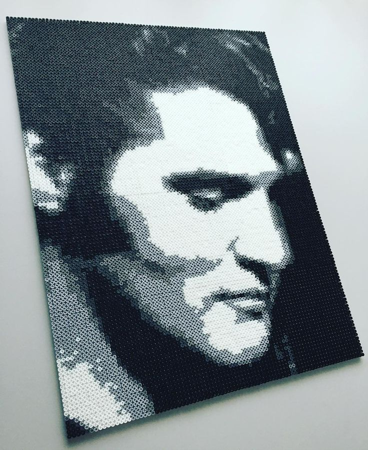 Elvis Presley perler bead portrait by mejormanu