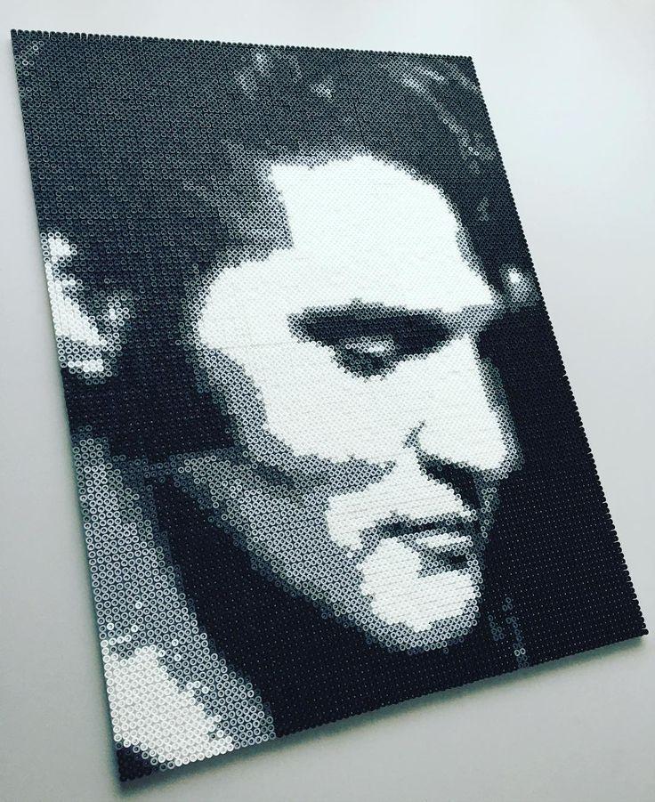 Elvis Presley perler bead portrait by mejormanu
