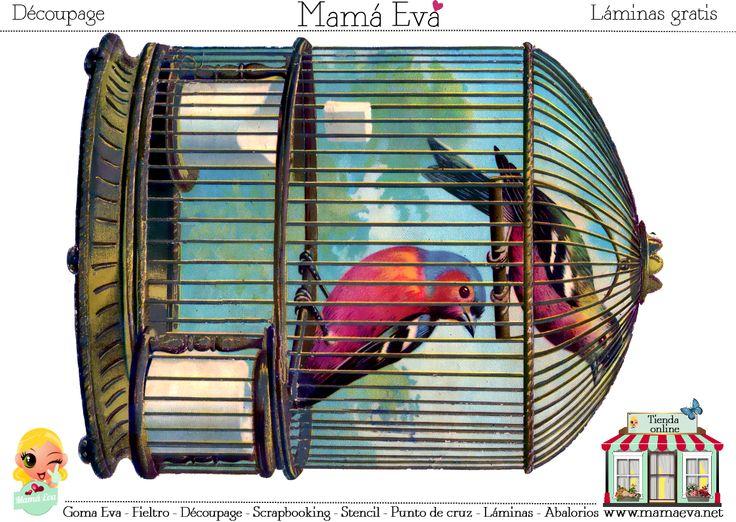 """Las jaulas y los pájaros tienen un encanto único para las manualidades. Descubre muchos más en nuestra web. Sección """"Láminas"""" del menú principal."""