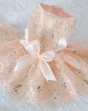Qy para cães filhote de cachorro gato Pet roupas de poliéster de casamento arco princesa vestido de 2 cores XS-XL alishoppbrasil