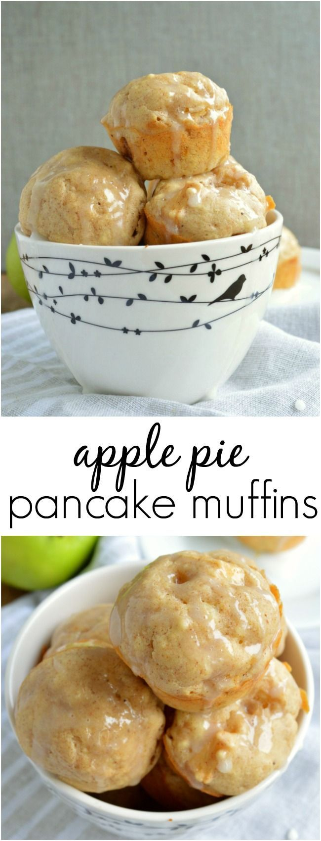 These Apple Pie Pancake Muffins are easy, fluffy little bites you can eat with your fingers! This breakfast recipe has fall goodness in every bite!
