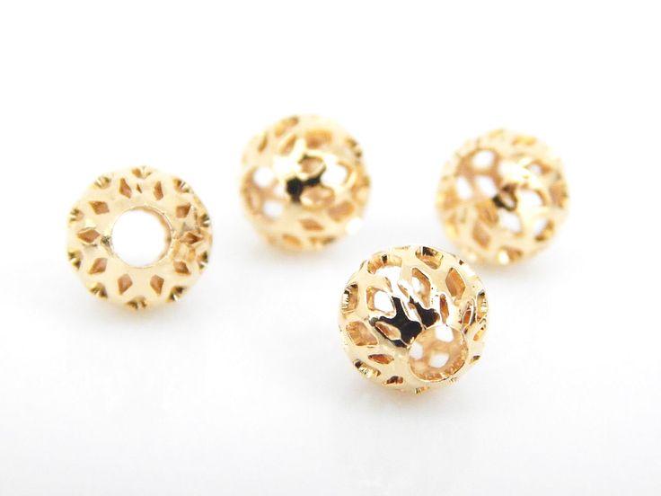 BFCO82015 Bola Filigrana en chapa de oro 14k, diámetros 8mm, ideal para bisutería fina, precio x gramo $4.20 pesos, precio medio mayoreo (100 gramos)$4, precio mayoreo (250 gramos)$3.90, precio VIP(500 gramos) $3.80 (2 piezas x gramo)