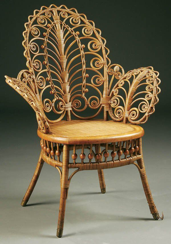 VERY FINE VICTORIAN WICKER PARLOR CHAIR