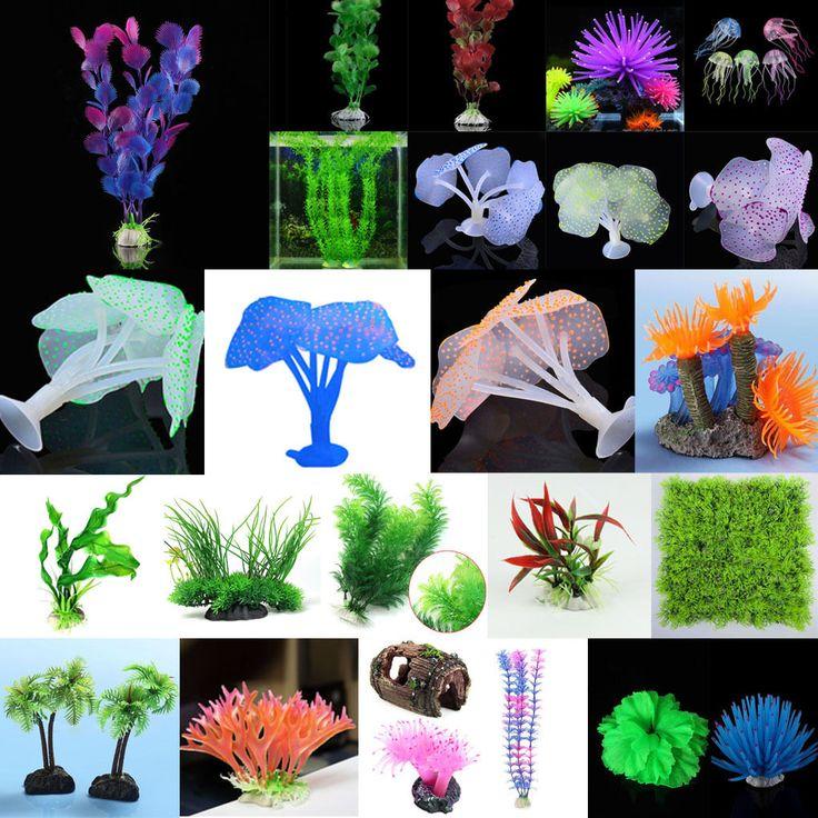 Aquarium Fake Fish Tank Green Plants Coral Sea-Urchin Grass Underwater Decor