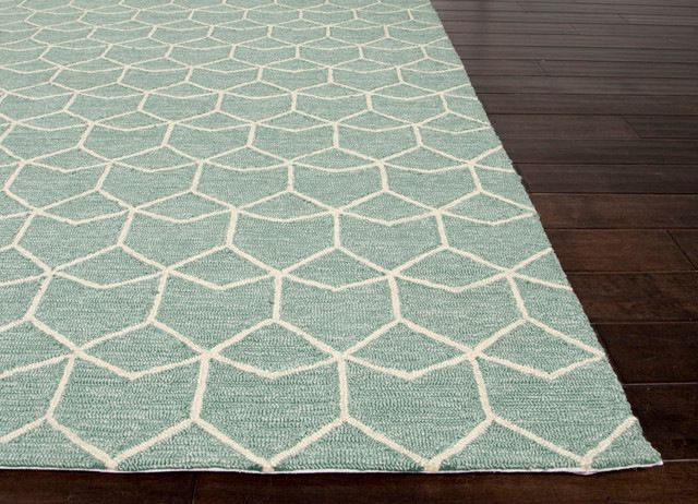 Jaipur Geometric Blue/Ivory Indoor-Outdoor Area Rug (3.6 x 5.6) transitional-outdoor-rugs