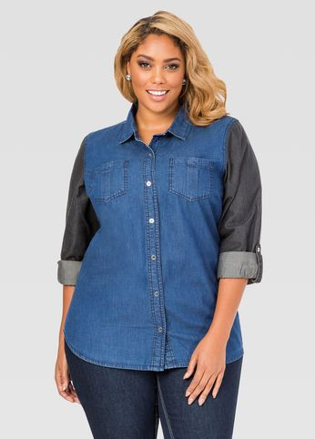 Two-Tone Denim Shirt