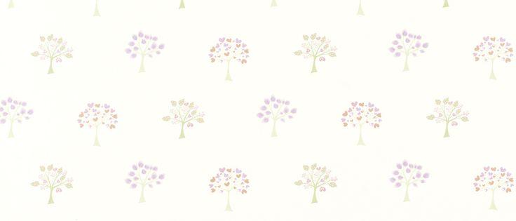 Esme White/Pink Childrens Wallpaper at Laura Ashley - (детска? хол?)