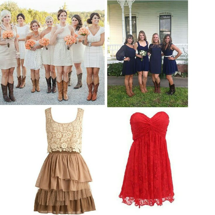 Love The Lace Short Simple Bridesmaids Dresses With Boots