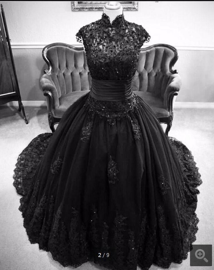 Billig riktig bild 2017 svart spetsboll klänning muslimsk brudklänning …