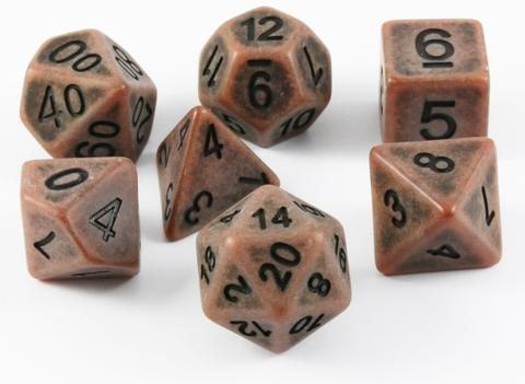 Ancient Dice (Copper) RPG Role Playing Game Dice Set