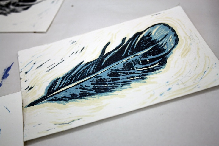 Found this great lino-cut print of a Blue Jay feather while looking at pictures of Blue Jays online with my kids.