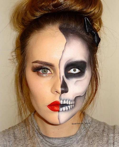 Half-Faced Skeleton Makeup                                                                                                                                                                                 More                                                                                                                                                                                 More