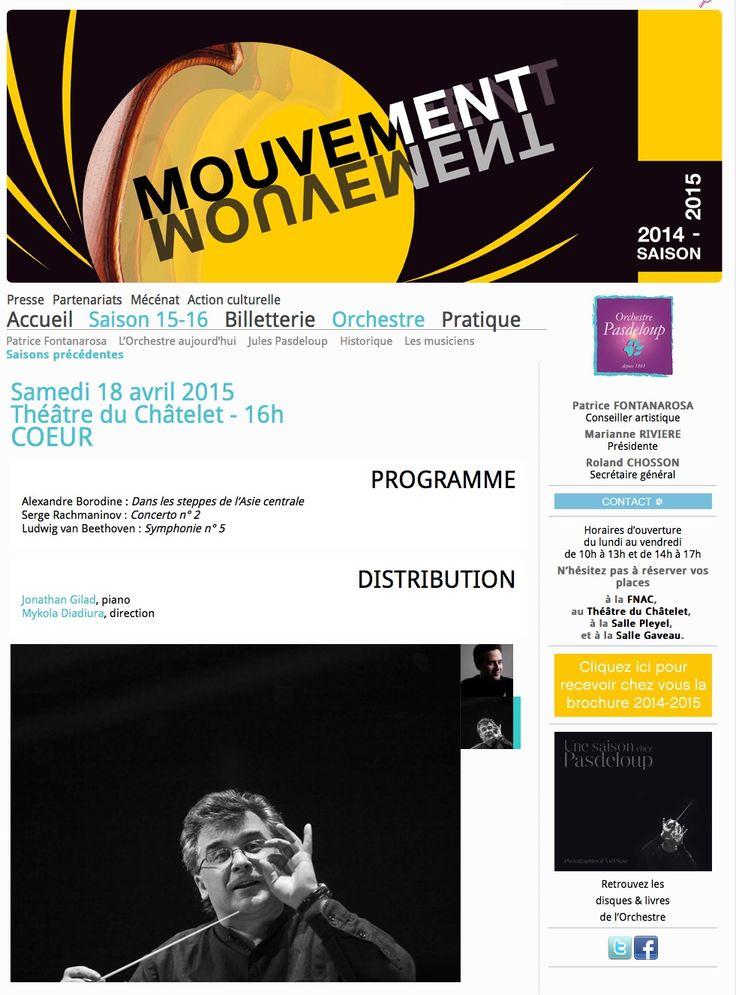 Samedi 18 avril 2015 à 16h, concert Pasdeloup au Théâtre du Châtelet.