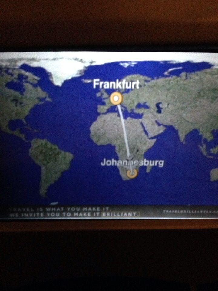 Flight route frankfurt johannesburg