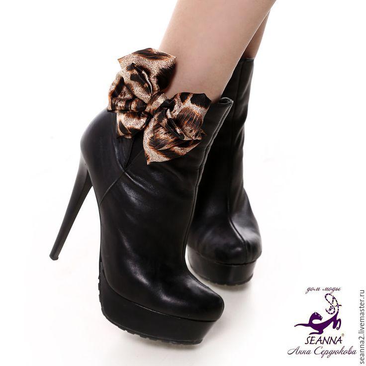 Купить Украшение съемное на туфли, клипсы Леопардовые бантики шелк - урашение на обувь, бант, бантик