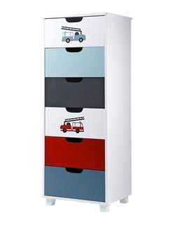 Commode semainier 6 tiroirs thème pompier  - vertbaudet enfant