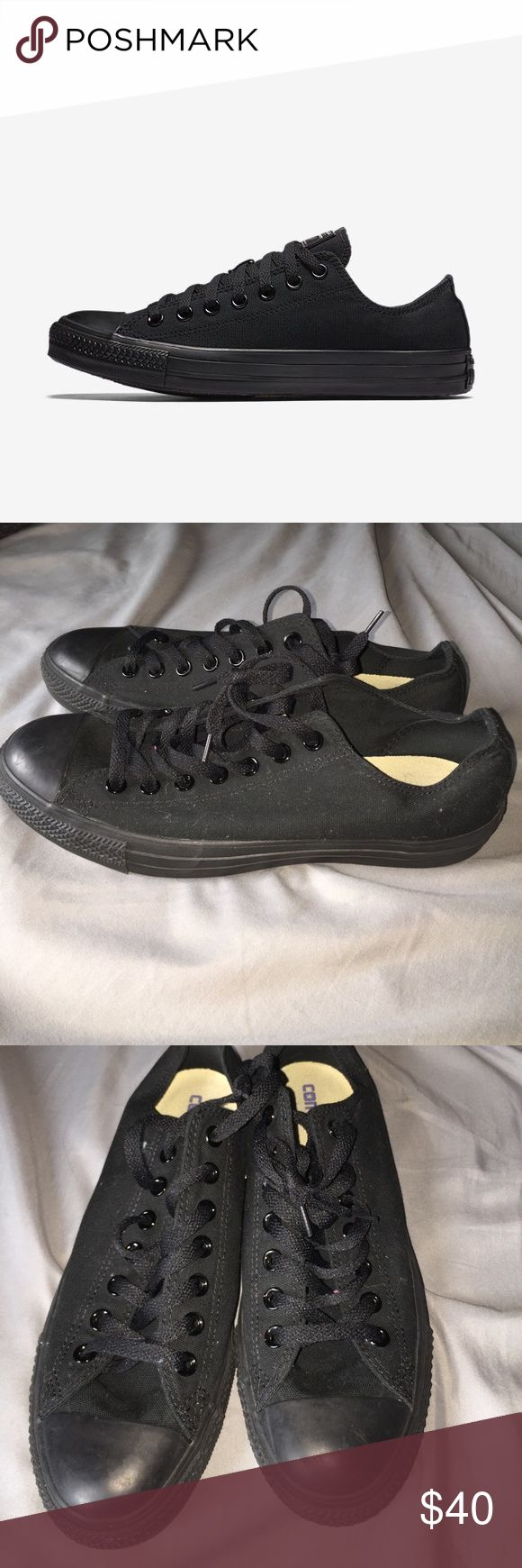 Black Low top Converse Worn 1x!! worn once, perfect condition. all black unisex low top converse. Women's 11, Men's 9 Converse Shoes Sneakers