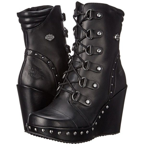 Harley-Davidson Sandra Women's Dress Pull-on Boots ($170) ❤ liked on Polyvore featuring shoes, boots, ankle boots, wedge heel ankle boots, lace up boots, studded ankle boots, harley davidson boots and short wedge boots