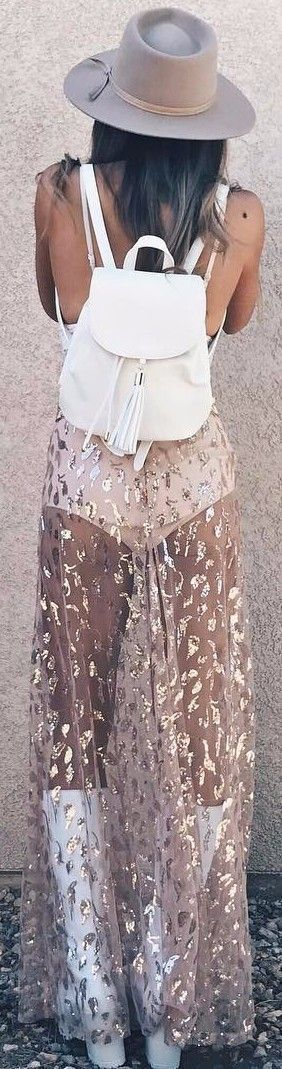 coachella vibes sheer metallic detailed festival maxi skirt with high waisted bottoms in cream and nude #festivaloutfits