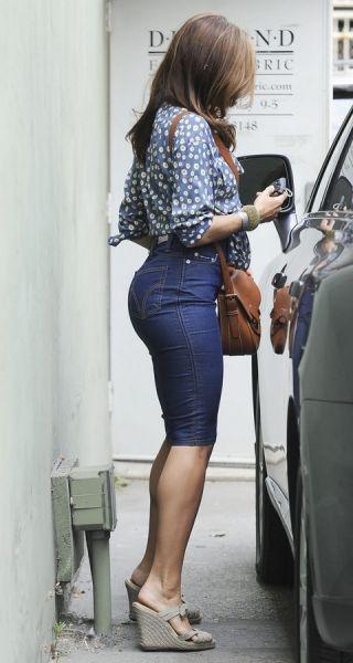 Eva Mendes Sports High Waisted Denim Skirt