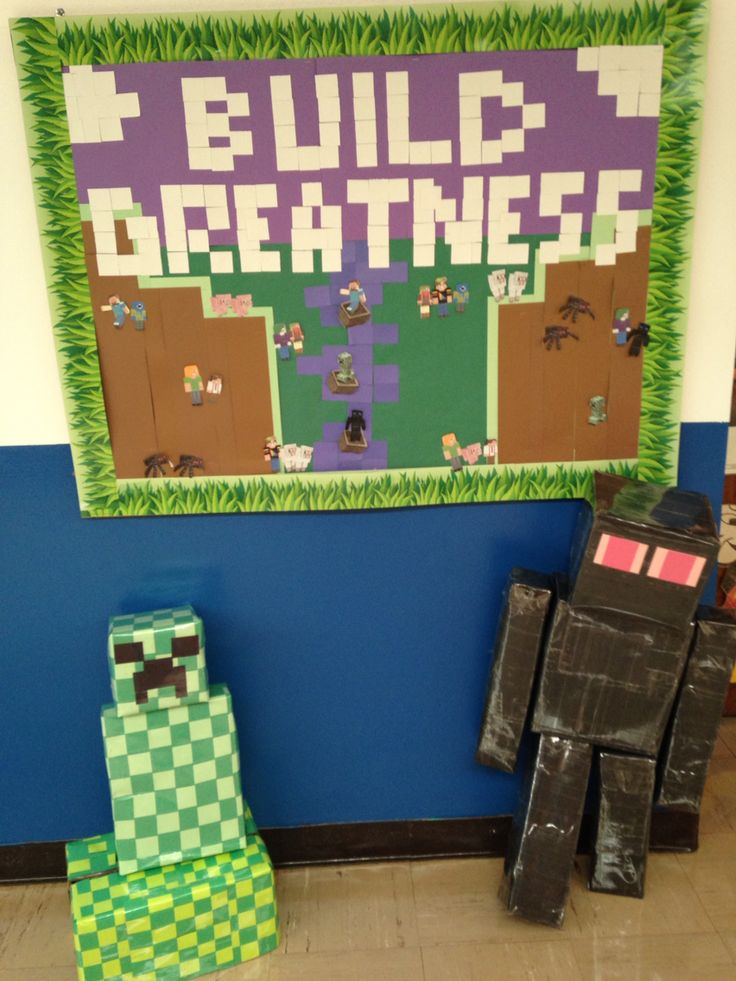 Back to School or Year Round Classroom Bulletin Board Idea: Minecraft; Build Greatness