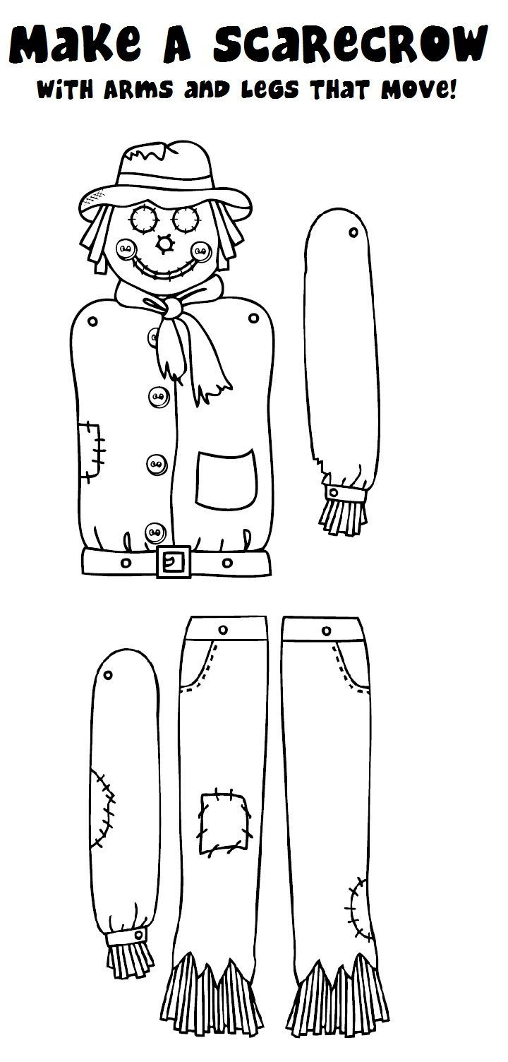 Looking for a fun, fall-themed classroom craft?  Try making a scarecrow with arms and legs that move!  Color him in, cut him out, and connect the arms and legs with brass fasteners.
