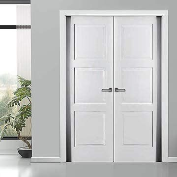 The prefinished Sanrafel Lifestyle 9300Z Double Door with 3 panels. #sanrafaeldoors #whitedoorpair