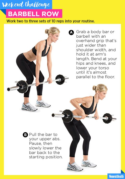 The One Move You Need for a Bangin' Upper Back  http://www.womenshealthmag.com/fitness/barbell-row-weekend-challenge?cid=soc_WomensHealthMag_TWITTER_Women's%2520Health__Workouts