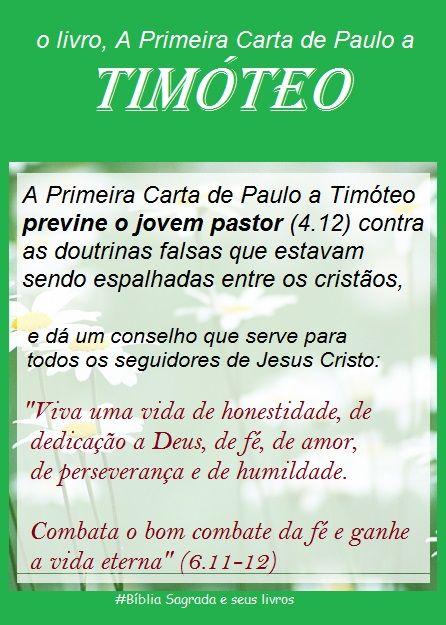 Bíblia Sagrada e seus livros: TIMÓTEO 1 - o 15º livro do NOVO Testamento, Primei...