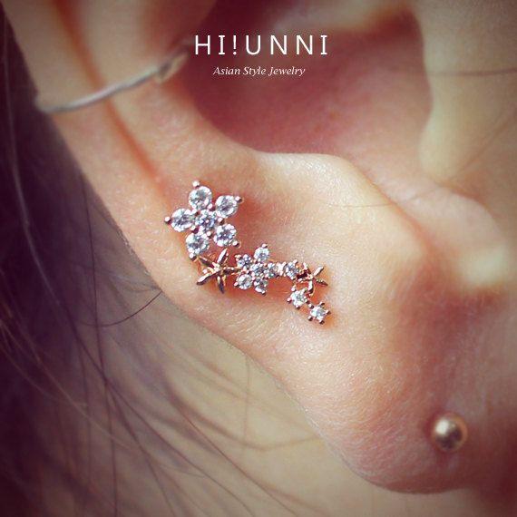 boucle d'oreille du cartilage fleur mousseux 16g, CZ boucles d'oreilles, bijoux piercing de la conque de l'oreille helix, acier chirurgical, boucle d'oreille unique, vendu comme 1 pièce