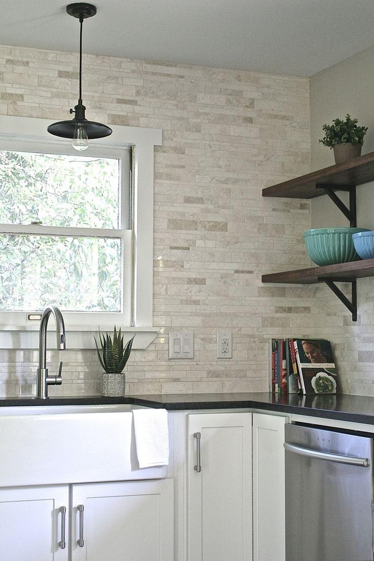Kitchen backsplash mosaic - Tile Is A Terra Nuova Brushed Marble Linear Mosaic That Feels Organic Fresh And Warm