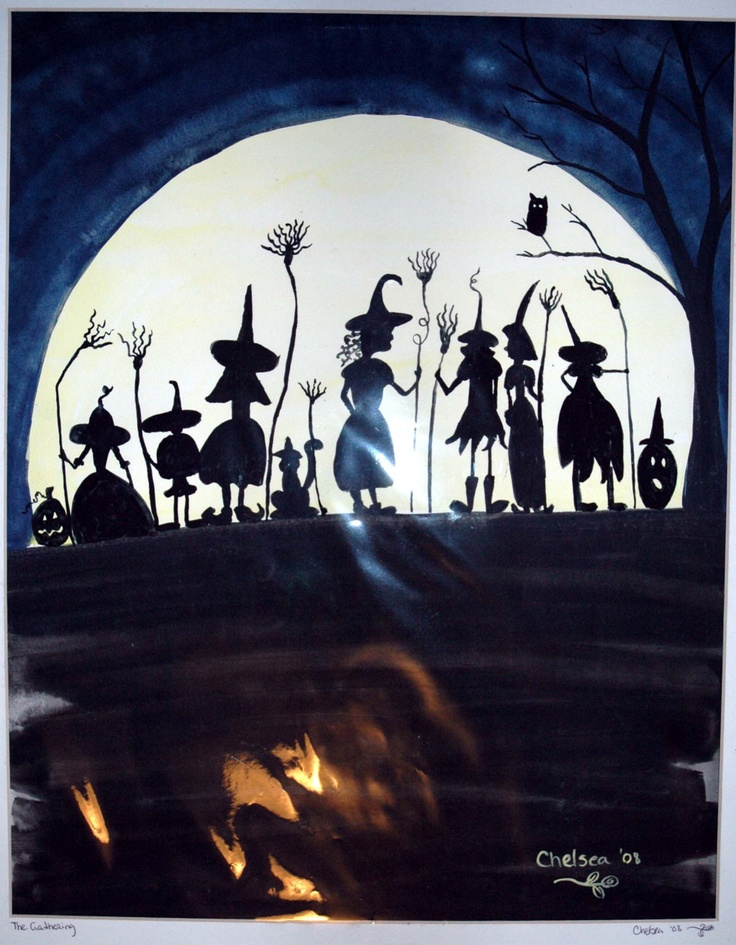 THE GATHERING Original Halloween Watercolor Painting Witches Silhouette Pinned by Lucy, the blogger of Ballyyahoo http://ballyyahoo.com/witch/