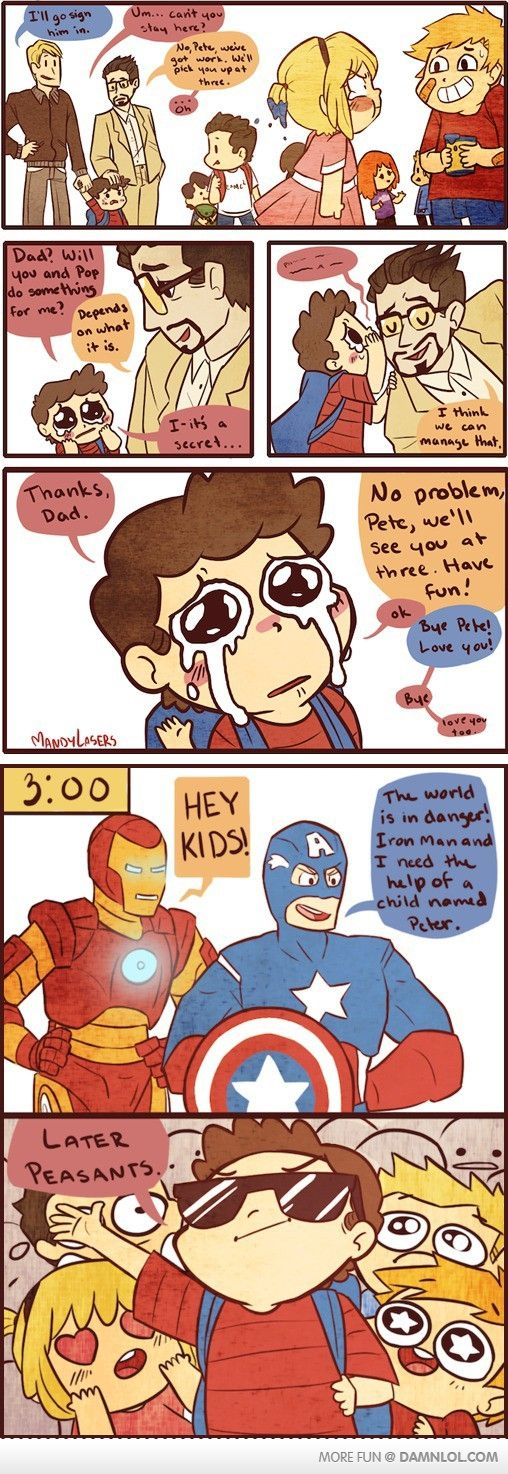 I saw this before and just thought it was Steve and Tony's love child. Just realized it's spidey.