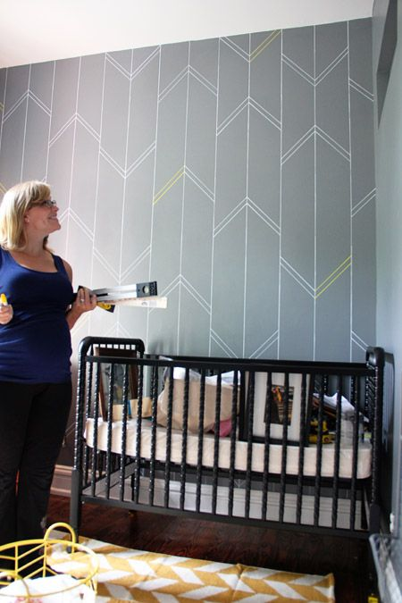 Sharpie Paint Pen Yellow & Gray Nursery Arrow Feature Wall Complete