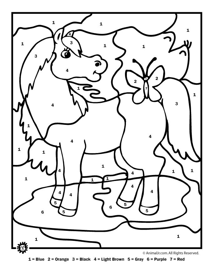 Farm animal color by number printables color by number farm animal horse animal jr
