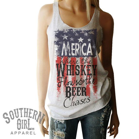 Merica Shirt. American Flag. Red White and by SouthernGirlApparel