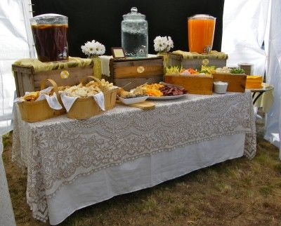 ** Vivians table cloth over a white table cloth!! YES!!!!! Rustic Catering display