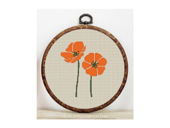 Orange flower, cross stitch,  kreuzstitch,  point de croix,  carpi isi