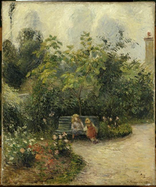 """""""Un coin de jardin à L'Hermitage (le jardin des Mathurins)"""" de Camille Pissarro. Paris, musée d'Orsay - Photo (C) RMN-Grand Palais (musée d'Orsay) / Hervé Lewandowski"""