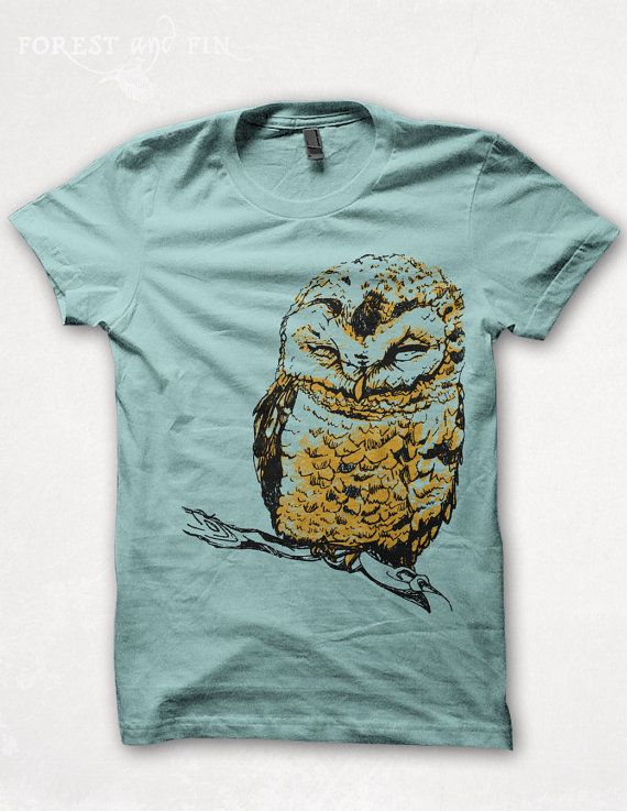 Womens TShirt Owl Shirt Screenprint Graphic Tee by forestandfin
