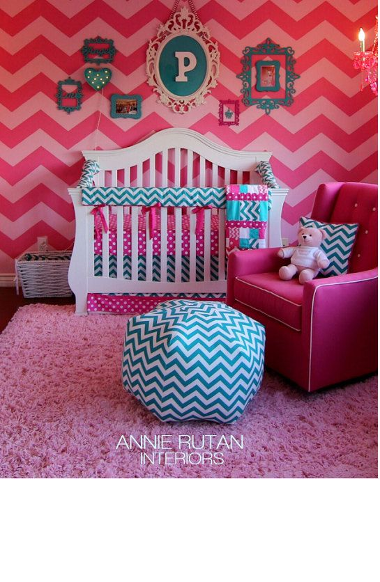 AS SEEN IN Vogue Crib bedding nursery bedding baby Crib Set- hot pink dots and turquoise teal chevron on Etsy, $110.00
