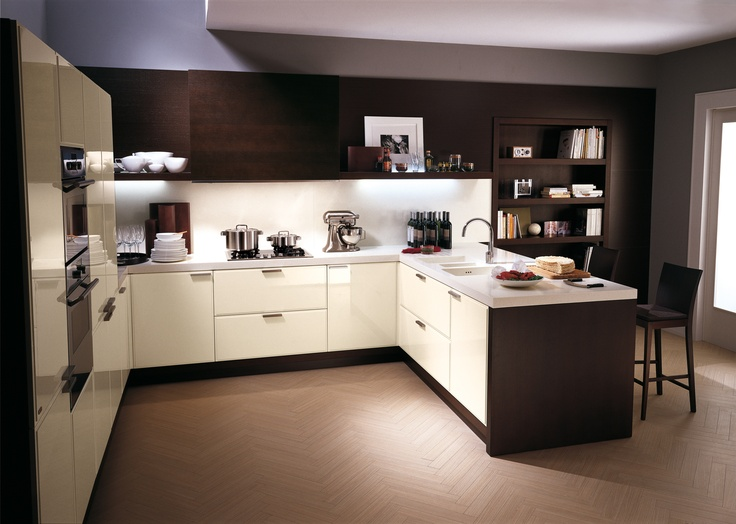 """Glam by #Scavolini. With """"peninsula"""" compositions, extremely complex layouts are possible.  Storage, work and eating meals: a mixture of activities for which Glam provides solutions in the most natural way. #kitchen"""