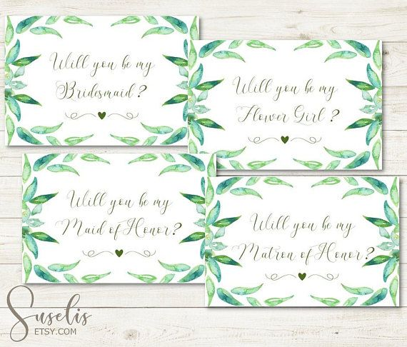 Will You Be My Bridesmaid Printable set Leafy Green Garden