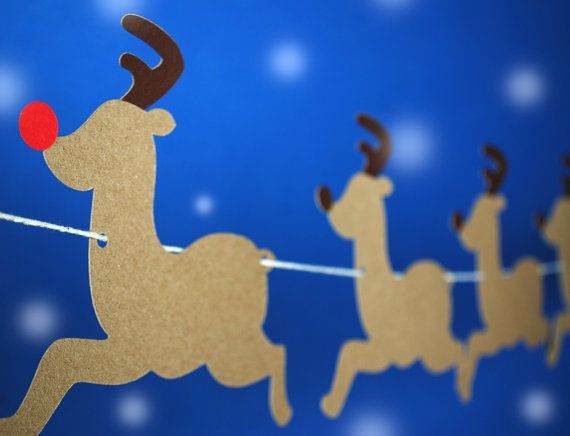 Reindeers and Sleigh Paper Garland (by BluefinWorks on Etsy)
