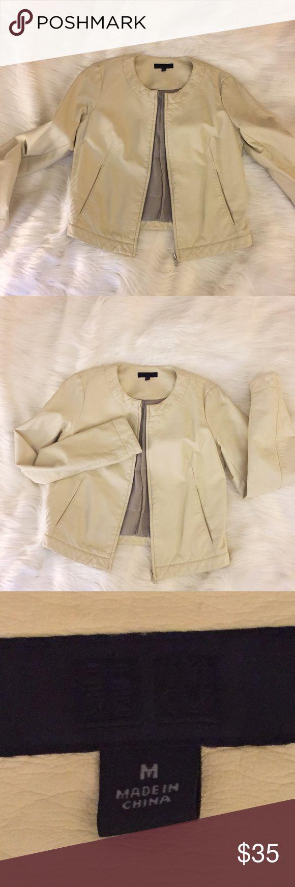 Leather jacket uniqlo - Uniqlo Vegan Leather Jacket Beige Medium