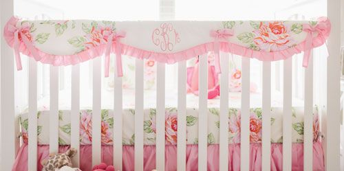 Pink Rose Girl Crib Rail Cover | Pink Crib Bedding | Floral Baby Bedding