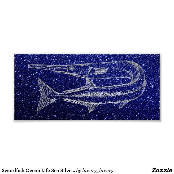 Swordfish Ocean Life Sea Silver Gray Blue Navy